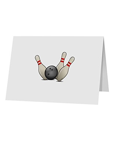 Price comparison product image TooLoud Bowling Ball with Pins 10 Pack of 5x7 Top Fold Blank Greeting Cards