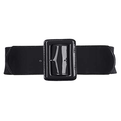 Women Casual Elastic Waist Cinch Belt with Square Buckle M 843-Black