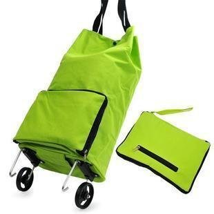 - Lunar baby Collapsible Foldable Rolling Shopping Bag on Wheels, Reusable Folding Shopping Cart Trolley Bag with Wheel, (Green)