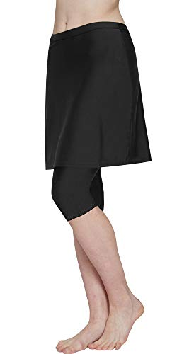 HonourSex Women Swim Skirted Leggings UPF50+ High Waist Swimsuits Skorts Bottoms, Surfing Beach Athletic Capri Skirts -