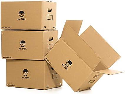 MR.BOX Pack 20 Cajas Cartón con Asas para almacenaje y mudanza. - 430x300x250 mm - Súper resistentes y 100% Biodegradables.: Amazon.es: Oficina y papelería
