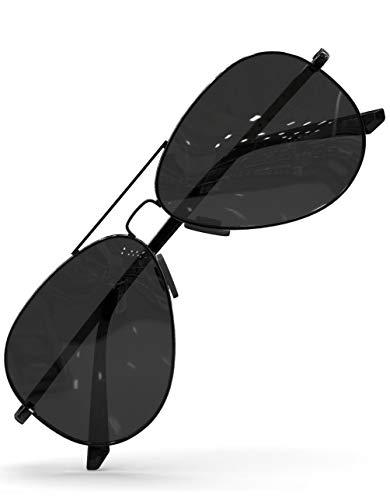 LUENX Aviator Sunglasses for Mens Womens Polarized Black Lens Black Metal Frame 60mm