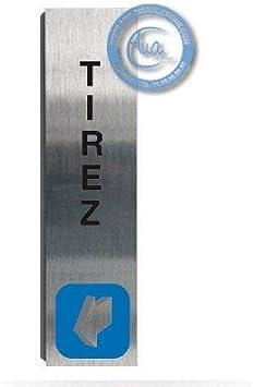 Plaque de porte aluminium bross/é imprim/é -Dimensions 200 x 50 mm Pas de contre collage Double face adh/ésif au dos Poussez vertical Impression UV directement sur laluminium