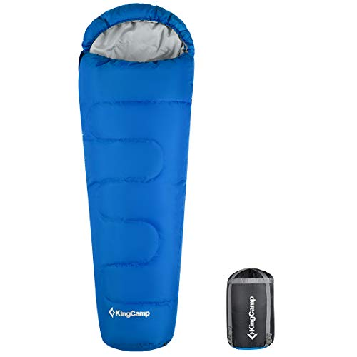 KingCamp Mummy Sleeping Bag 8.6 Degree F 300g/m2 Warm Loft Filling Cold Weather Ultra Compact for Camping Backpacking 4 Season Ultralight Men and Women Adult Lightweight with Compression Sack