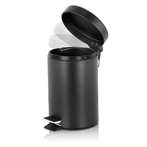 malmo round step trash can with lids brushed stainless steel with removable bucket 3l black. Black Bedroom Furniture Sets. Home Design Ideas