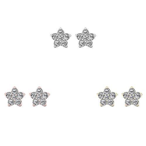 IGI Certified 10K Rose Gold 1/2ct TDW Diamond Star Stud Earrings (I-J, ()