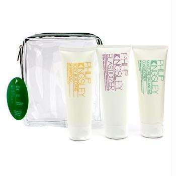 (Philip Kingsley Body & Shine Jet Set: Shampoo + Conditioner + Elasticizer 3pcs)