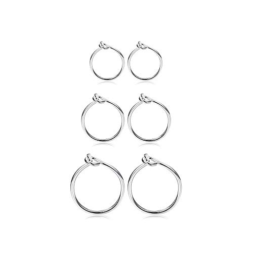 Fiasaso 3 Pairs 925 Sterling Silver Hoop Earrings For Women Girls Small Hoop Earrings Sleeper Earrings Piercing Set 6MM 8MM 10MM Silver Tone (Hoop Small Sterling Earrings)