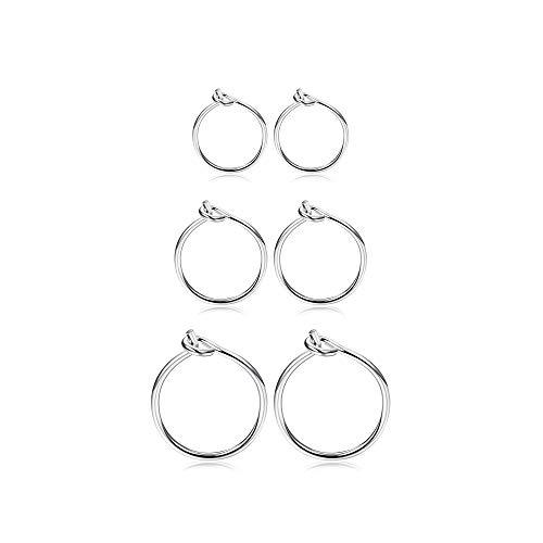 Fiasaso3Pairs925SterlingSilverHoopEarringsForWomenGirlsSmallHoopEarrings Sleeper Earrings Piercing Set 6MM 8MM 10MM Silver Tone