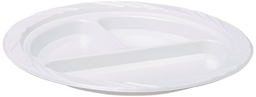 "Genuine Joe GJO10425 Plastic Reusable/Disposable Divided Plate, 9"" Diameter, White (Pack of 125)"