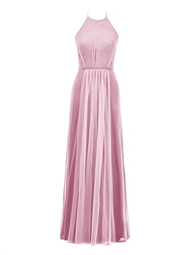 Party Dress Sea Women's Alicepub Prom Bridesmaid Gown Long Maxi Halter Evening Pink Tulle qwWFYCt