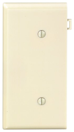 No End Panels - Leviton PSE14-I 1-Gang No Device Blank Wallplate, Sectional, Thermoplastic Nylon, Strap Mount, End Panel, Ivory