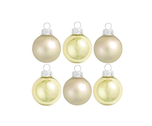 Gold Ball Glass Light (Northlight 6ct Matte and Pearl Light Gold Glass Ball Christmas Ornaments 2.5