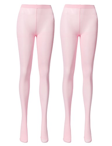 Pink Tights Opaque (OSABASA Women's 80 Denier Semi Opaque Solid Color Footed Pantyhose Tights 2Pair BABYPINK(KWMT05))