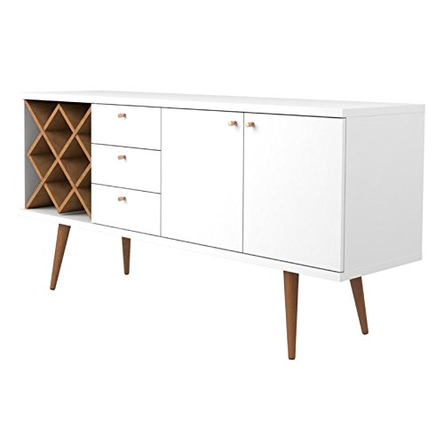Modern Buffets Sideboards - Manhattan Comfort 1010451 Utopia Sideboard Buffet Stand, White Gloss and Maple Cream