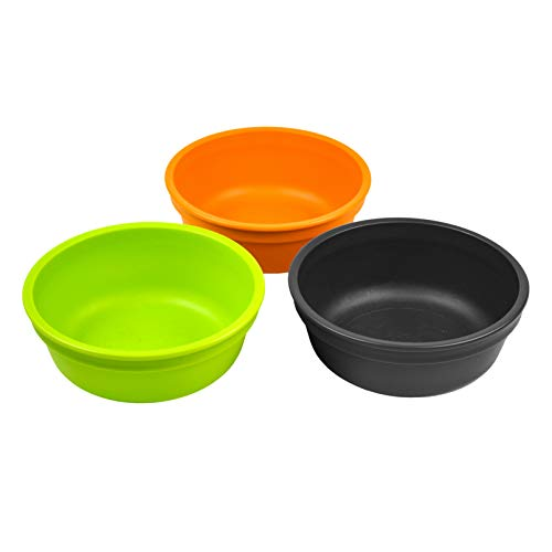 Re-Play Made in The USA 3pk Bowls for Baby and Toddler - Orange, Lime, Black ()