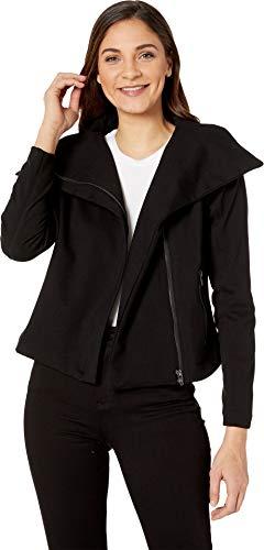 Blank NYC Women's Ponte Fabric Drape Front Zipper Jacket in Caviar Caviar - Jacket Caviar