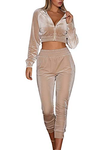 Adogirl 2 Piece Outfits for Women Velour Crop Jacket Cropped Pants Tracksuit Apricot XL