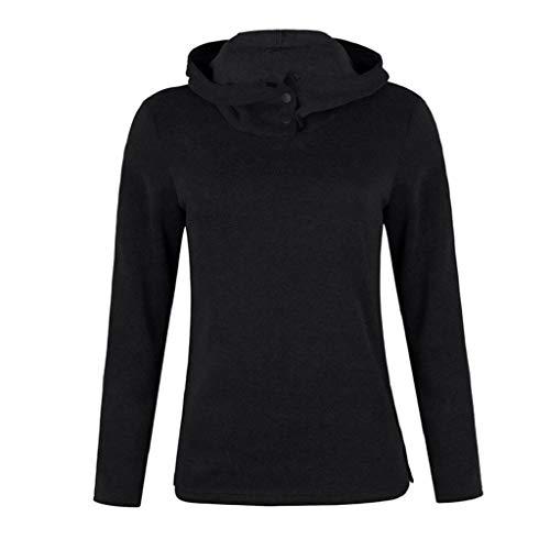 Completa Collar Outwears Blusa Sólido Mujeres Soporte Negro Sudadera Botón Manga De Luckycat Cálido ZYEqwC