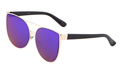 Oversized Cateye Sunglasses Metal Rimmed Flash Lens Mod Fashion Eyewear (Gold/Purple, - Sunglasses Fitover Australia