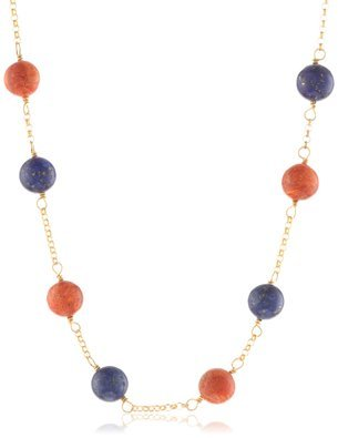 Sterling Silver 925 Yellow Gold-Tone Dyed Lapis and Sponge Coral 3-Piece Set