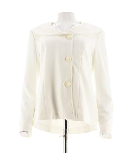 Portrait Jacket Collar - Dennis Basso Caviar Crepe Portrait Collar Long Sleeve Jacket Ivory 8 New A286049
