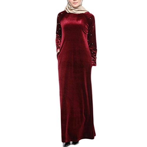 97c22e16f014 Fiaya Muslim Dress Women's Abaya Kaftan Islamic Beading Hot Drilling Velvet Robe  Plus Size Middle East Long Maxi Dress (Red, M)