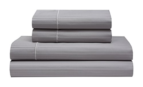 Elite Home Products Renaissance 600 Thread-Count 100% Cotton Sateen Stripe Deep-Pocketed Sheet Set, Grey, Queen