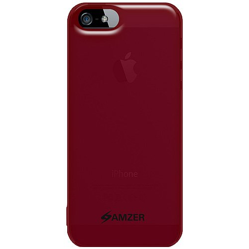 Amzer Soft Gel TPU Gloss Skin Fit Case Cover for Apple iPhone 5, iPhone 5S, iPhone SE (Fits All Carriers)  - Translucent Red