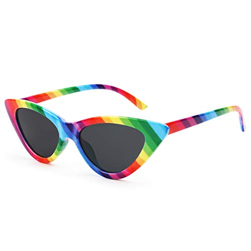 Livhò Retro Vintage Narrow Cat Eye Sunglasses for Women Clout Goggles Plastic FrameRainbow)