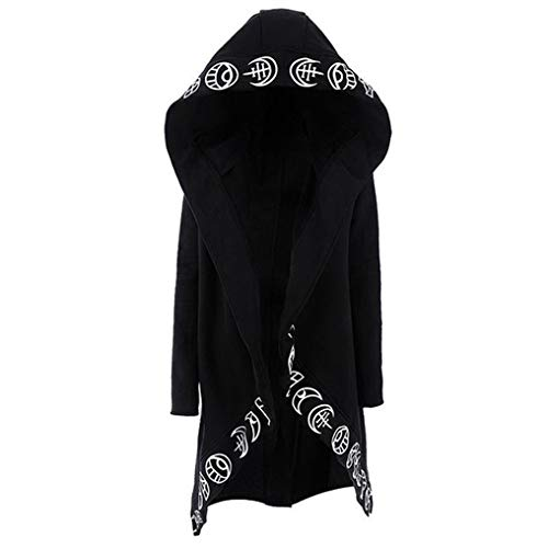 Women Punk Gothic-Black-Hoodies, Witchcraft-Hooded-Cardigan - Moon Hoodies Coat Top Sweatshirt (Medium) -