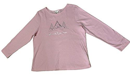 Womens Clothing Cj Banks - C.J. Banks Women's Plus Size 3/4 Sleeve Shirt Christmas Metallic 1X Pink