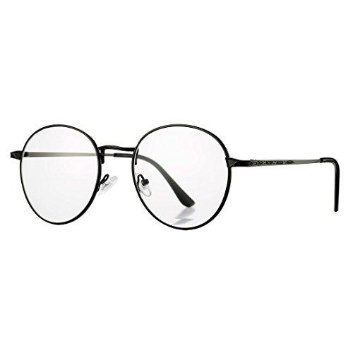 COASION Retro Round Circle Non-Prescription Glasses Clear Lens Metal Frame Unisex Eyeglasses (Black, - 55mm Glasses