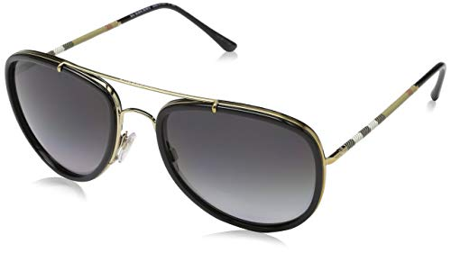 Burberry Unisex 0BE3090Q Brushed Light Gold/Black/Polarized Grey Gradient One Size (Burberry Sonnenbrillen Damen)