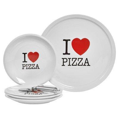 I Love Pizza 6 Piece Porcelain Platter (Love Round Serving Plate)