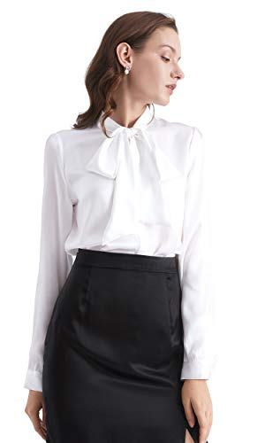 LilySilk Bow-tie Neck Silk Blouse for Women Long Sleeve Ladies Tops Buttons VintageReal Silk Shirts White S/4-6