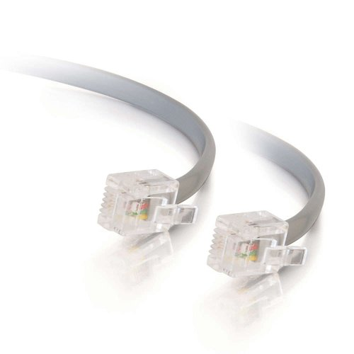 C2G 02970 RJ11 Modular Telephone Cable, Silver (7 Feet, 2.13 Meters)