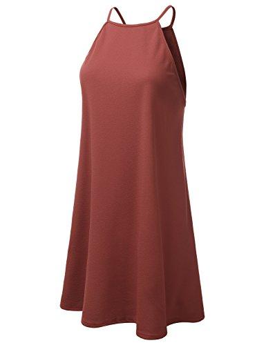 rust Neck Doublju Women Halter Awdsd0758 Neck Plus Square Dress Size Swing qqtwp6Cv