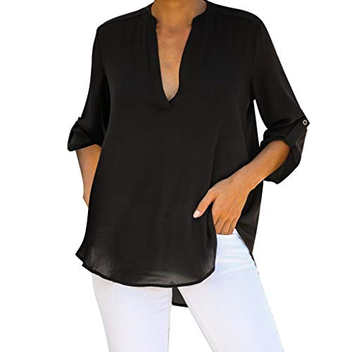 - Emimarol Women's Casual Chiffon Blouse Long Sleeve Solid Color V Neck Tunic Shirt Black
