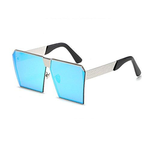 plateado Gafas de Hzjundasi Marco Claro y UV400 Pescar Hombre Gafas Mujer de sol Conducción Metal Mujer sol Hombre o Gafas Cuadrado Azul Vendimia qHqUBw