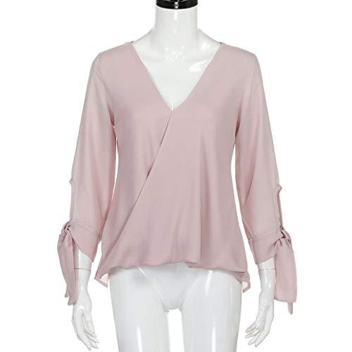 V Blu Donne Per Ts Tinta Chiffon Unita shirt In colore A Rosa Nero Da Taglia Le Scollo Lunghe Camicetta T Maniche Rossa Donna Selvaggia Rosa Camicia W1HU4YqU
