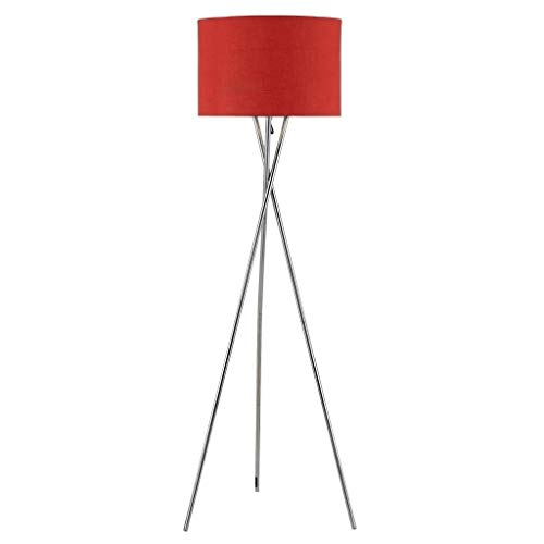 Red Tripod Floor Lamp Steel Standing Light Spotlight Living Room Lighting Contemporary Lights Vintage Lamps Crimson Shade Colour Design, Metal