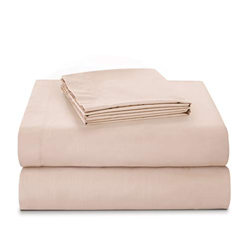 (Villa Feel 100% Egyptian Cotton Queen Bed Sheet Set-600 Thread Count Percale Weave Bedding Sheets-Single Ply Long-Staple Yarns-Deep Pocket-4 Piece Luxury Bedding Sheet Set(Queen,Nude))