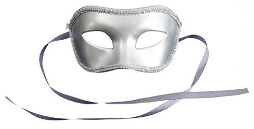 Loftus International Adult Solid Masquerade Halloween Costume Half Mask Silver One-Size (7