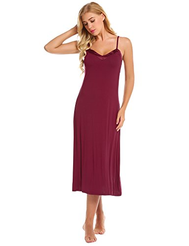 Ekouaer Womens Sleeveless Long Nightgown Summer Slip Night Dress Cotton Sleepshirt Chemise,C_wine - Holiday Chemise