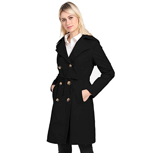 - KENGURU COVE Women's Double Breasted Mid-Length Trench Coat Classic Overcoat(Black,XXL)