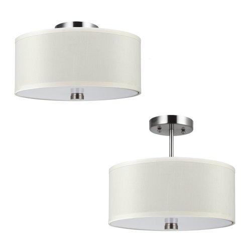 2 Lite Semi Flush (Sea Gull Lighting 77262-962 Dayna Shade Pendants Two-Light Flush / Semi-Flush Convertible with White Acrylic Diffuser and Faux Silk Fabric Shade, Brushed Nickel Finish)