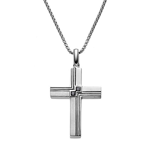 JewelMore 1/5 Carat T.W. Black Princess-Cut Diamond Sterling Silver Textured Cross Pendant Necklace - Men