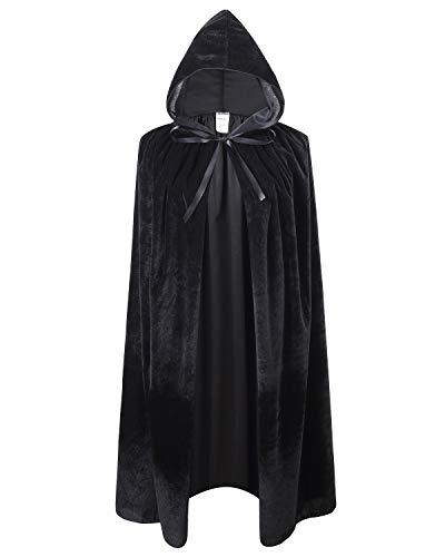 Kids Velvet Cape Cloak with Hood Unisex-Child Cosplay Halloween Christmas Costume (100cm/39.4inch, Black)