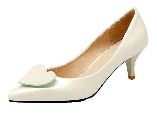 AllhqFashion Damen Mittler Absatz PU Leder Gemischte Farbe Spitz Zehe Pumps Schuhe Cremefarben
